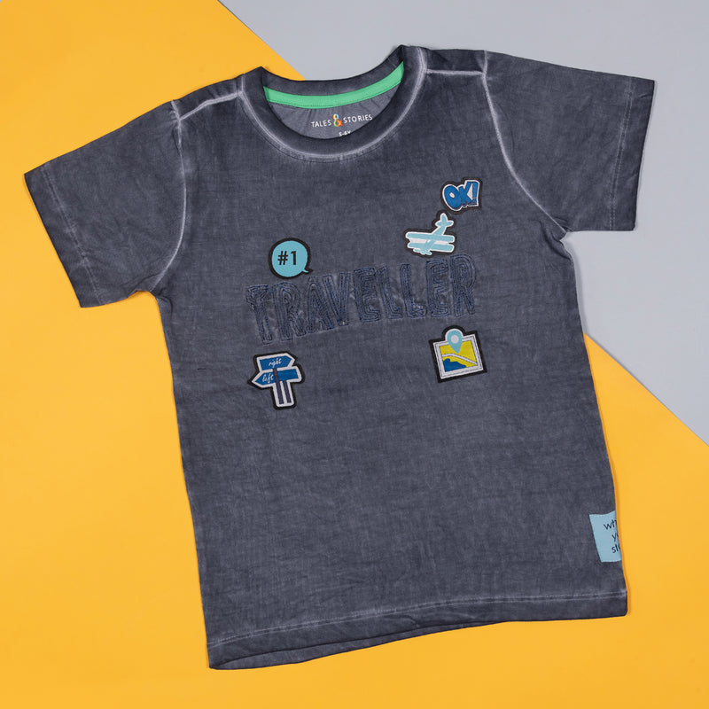 Boys Dark Grey Regular Printed Cotton T-shirt