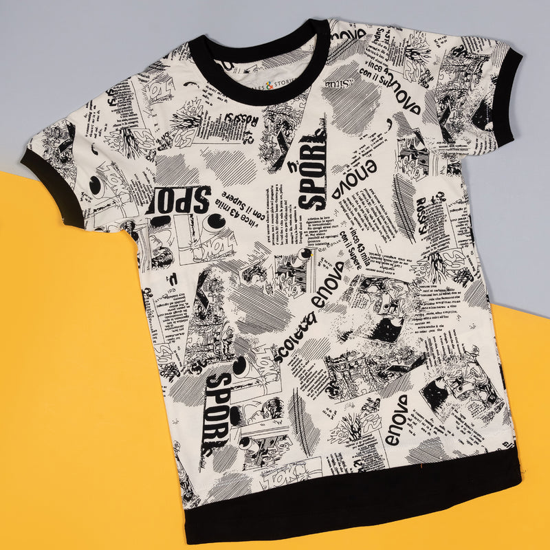 Boys Off White Regular Printed Casual T-shirt