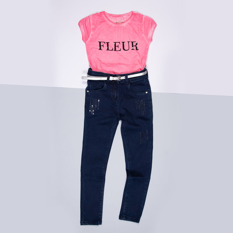 Girls Dark Blue Sequins Stretchable Slim Fit Denim Jeans