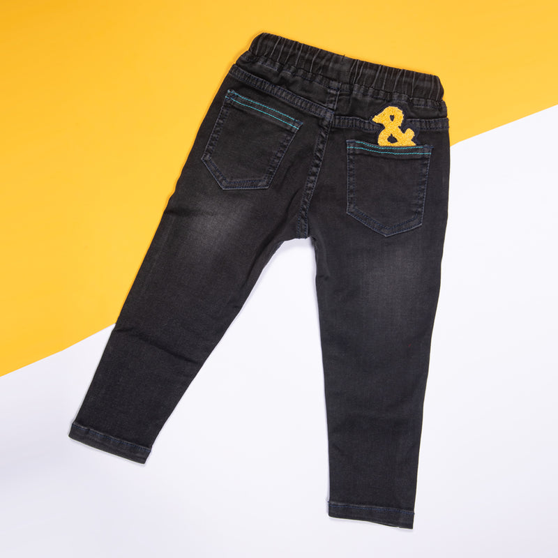 BOYS SLIM FIT BLACK JEANS WITH ELASTICATED BELT