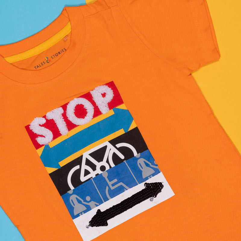 BOYS REGULAR FIT ORANGE T-SHIRT