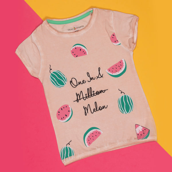 GIRLS REGULAR FIT PINK WATERMELON PRINT T-SHIRT