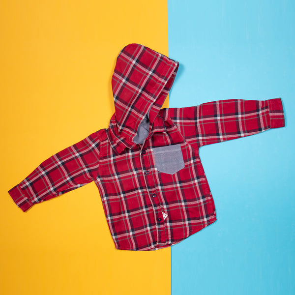 BOYS REGULAR FIT RED PLAID SHIRT WITH HOOD