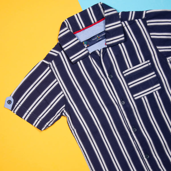 BOYS REGULAR FIT NAVY BLUE STRIPED SHIRT