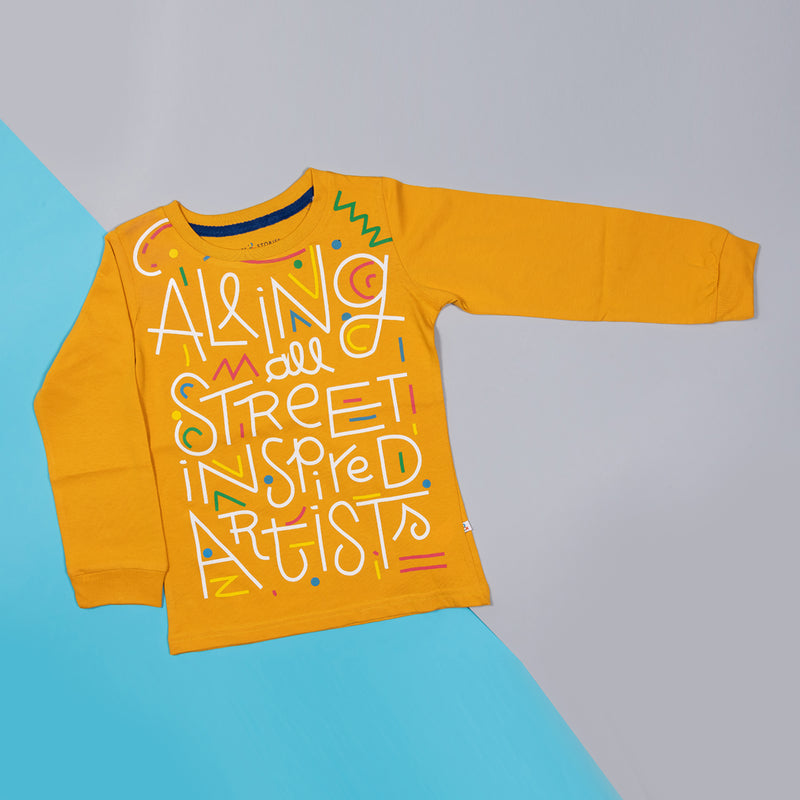 Boys Regular Fit Yellow Printed Casual T-shirt