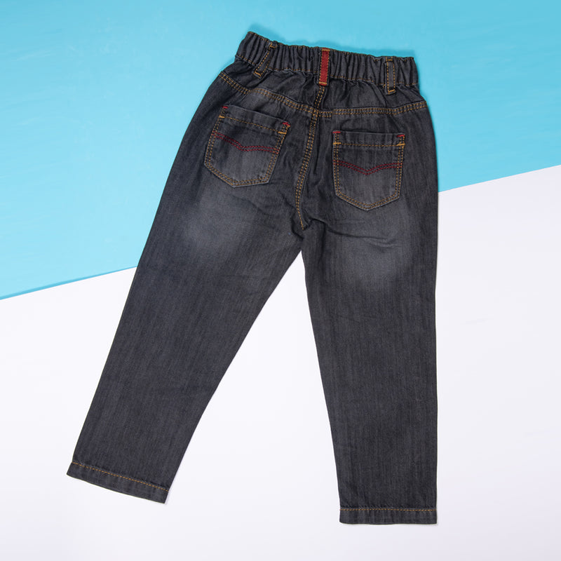 BOYS BLACK REGULAR FIT JEANS