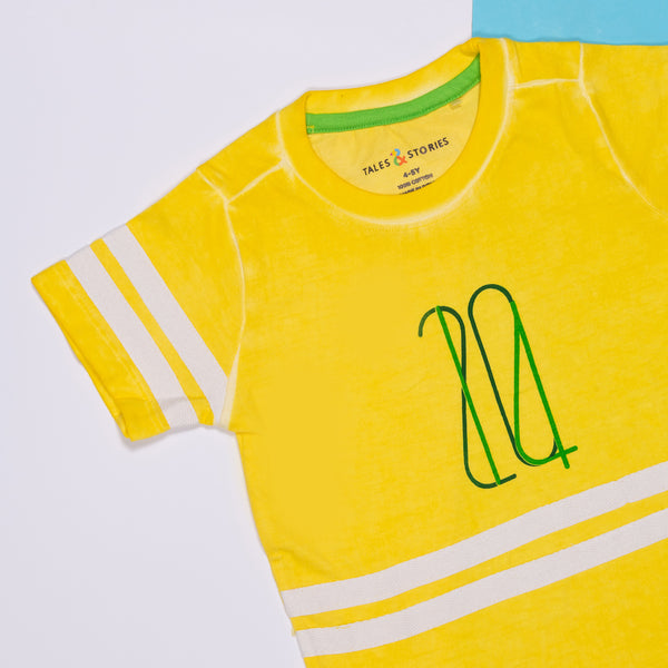 BOYS REGULAR FIT YELLOW T-SHIRT