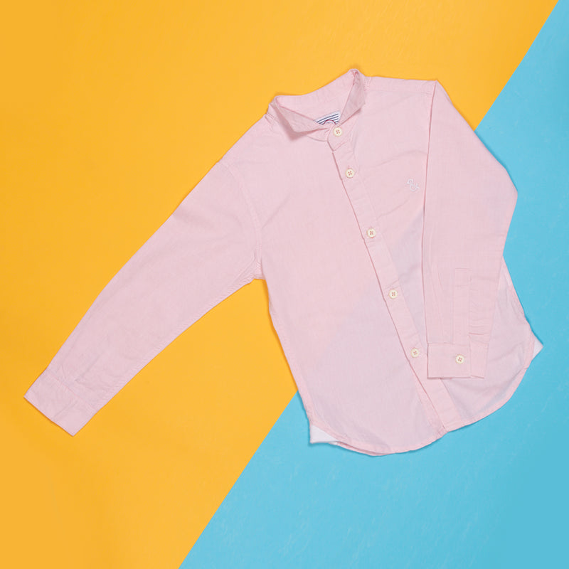 Boys Pink Regular Full Sleeve Cotton Shirt