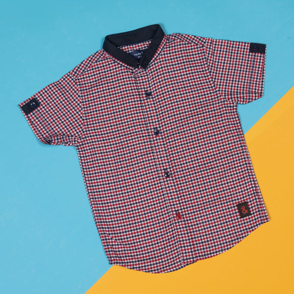 BOYS REGULAR FIT RED GINGHAM PRINT SHIRT