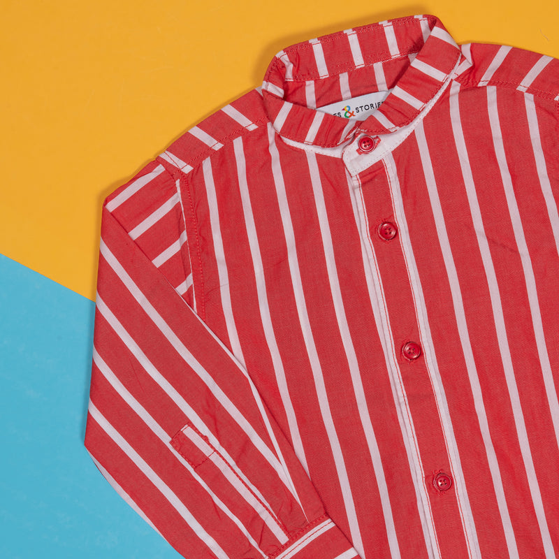 BOYS REGULAR FIT RED STRIPED SHIRT