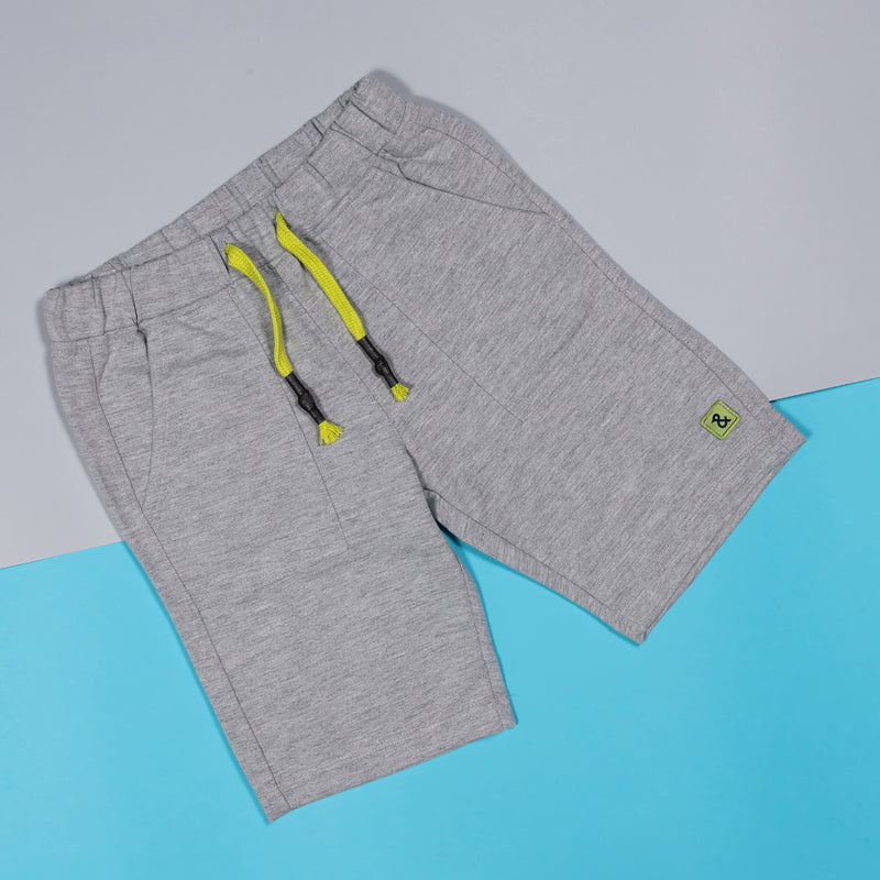 Boys Light Grey Regular Cotton Bermuda
