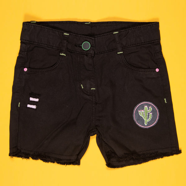 Girls Black Embroidered Stretchable Slim Fit Shorts