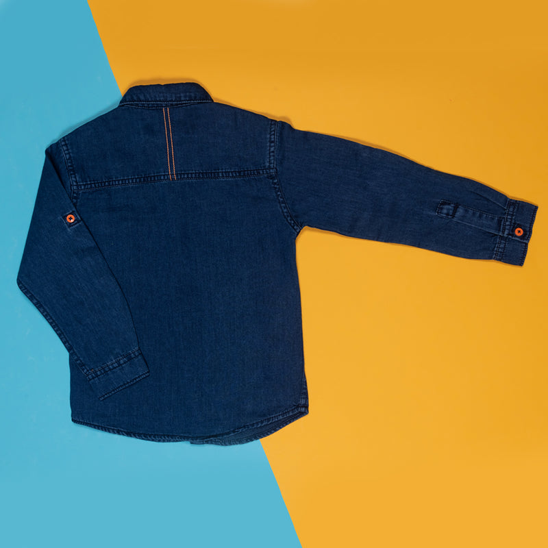 Boys Regular Fit Dark Blue Denim Casual Shirt