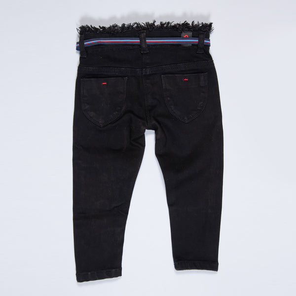 GIRLS BLACK SOFTENER WASHED STRETCHABLE SLIM FIT DENIM JEANS