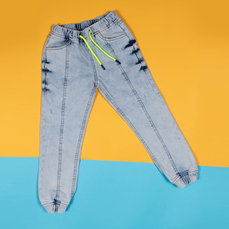 Boys Slim Fit Light Blue Casual Joggers with Elastic Waistband