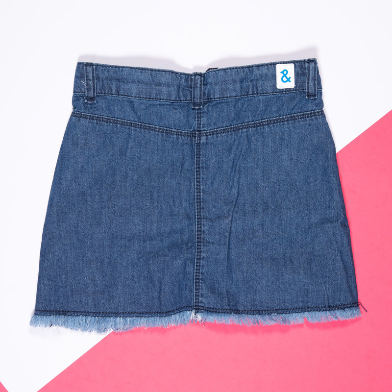 GIRLS MID BLUE COTTON REGULAR DENIM SKIRT
