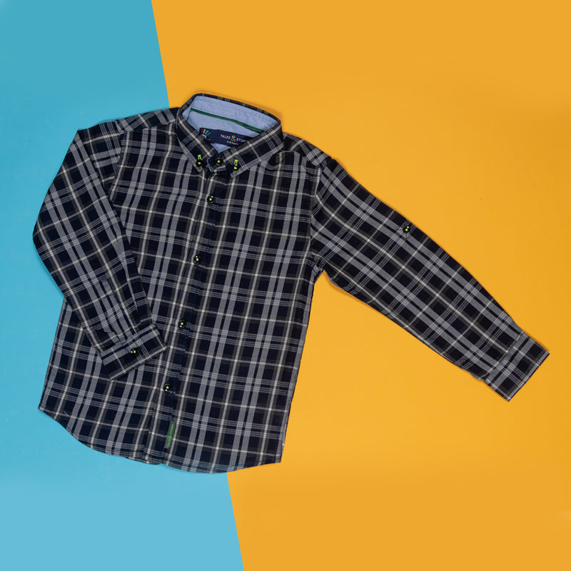 BOYS REGULAR FIT NAVY BLUE PLAID SHIRT