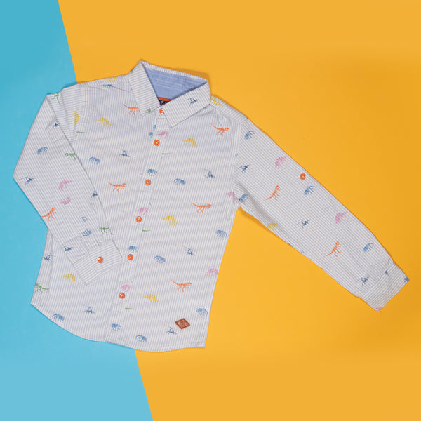 BOYS REGULAR FIT WHITE PRINTED SHIRT