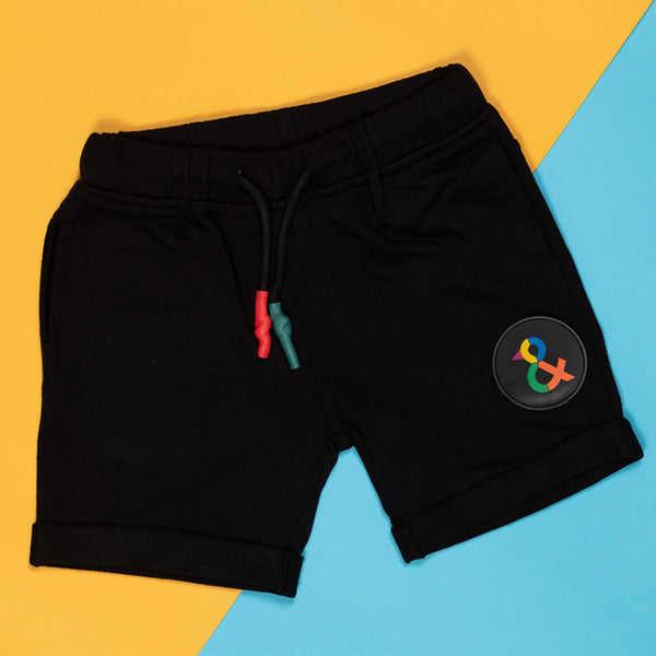 Boys Black Regular Cotton Bermuda