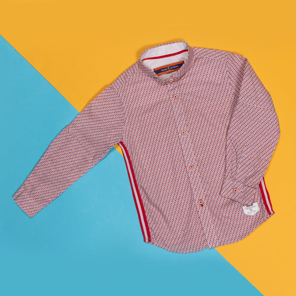 BOYS REGULAR FIT PINK PRINTED SHIRT WITH SIDE TAPE