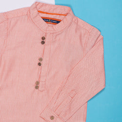 BOYS REGULAR FIT ORANGE STRIPED SHIRT WITH STAND COLLAR