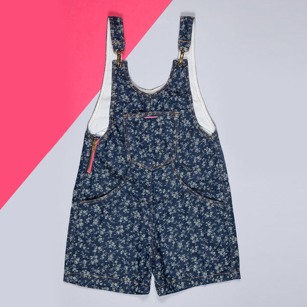 GIRLS DARK BLUE PRINTED STRETCHABLE REGULAR DUNGAREE