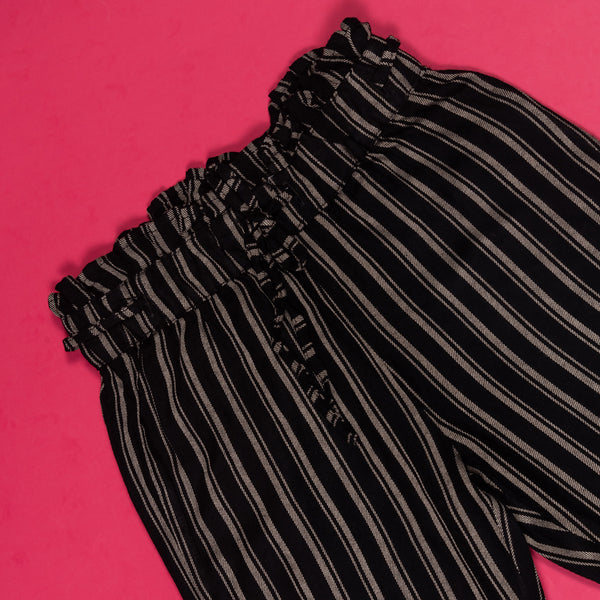 GIRLS SLIM FIT BLACK STRIPED PAPER BAG TROUSER