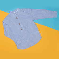 BOYS REGULAR FIT SKY BLUE SHIRT WITH STAND COLLAR