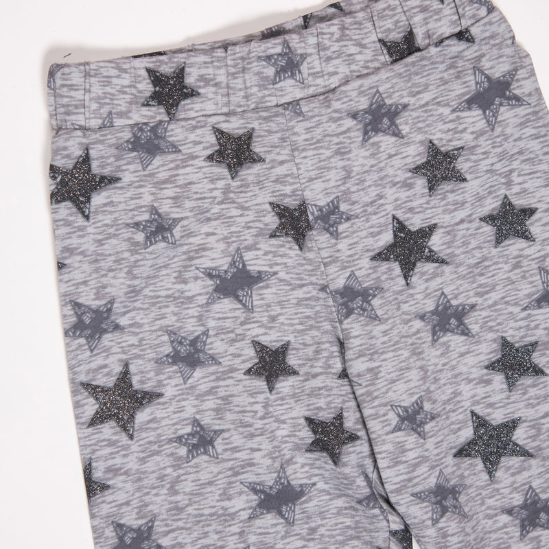 Girls Grey All Over Print Stretchable Regular Leggings