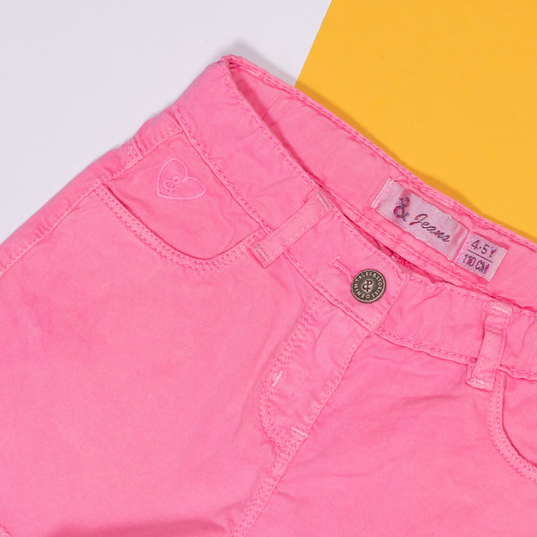 GIRLS SLIM FIT PINK SHORTS WITH FRAYED HEM