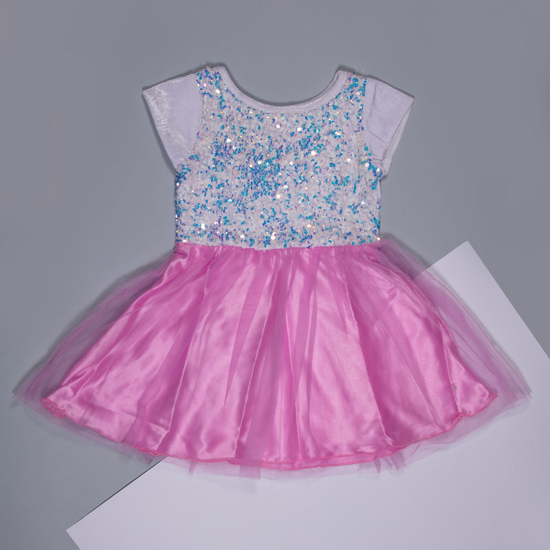 Girls Pink Sequins Polyester Regular Dress