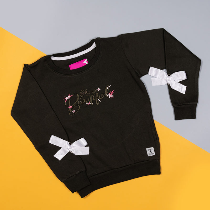 Girls Regular Dark Green Embroidered Casual Sweatshirt