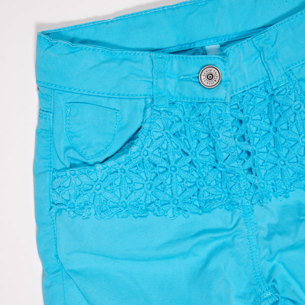 Girls Sky Blue Net Stretchable Slim Fit Shorts