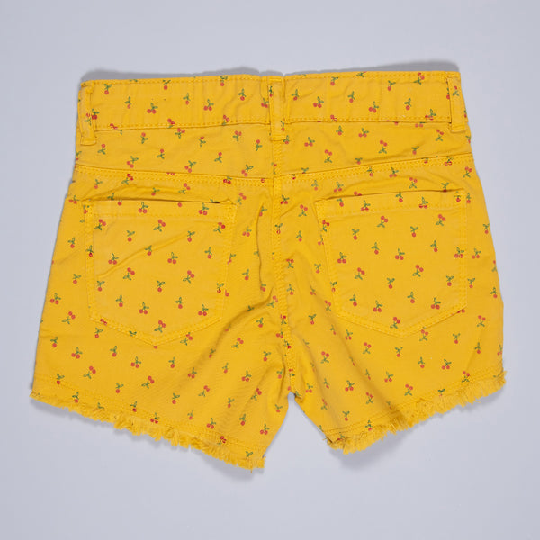 GIRLS YELLOW PRINTED STRETCHABLE REGULAR SHORTS