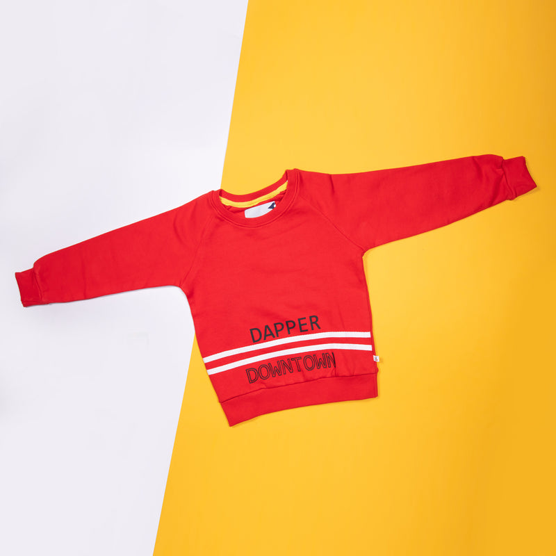 BOYS RED CASUAL SWEATSHIRT WITH TYPOGRAPHY