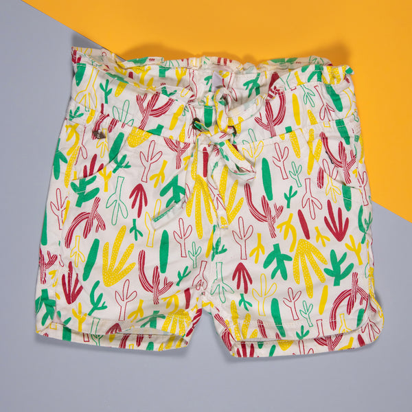 GIRLS MULTI COLOUR PRINTED STRETCHABLE SLIM FIT SHORTS