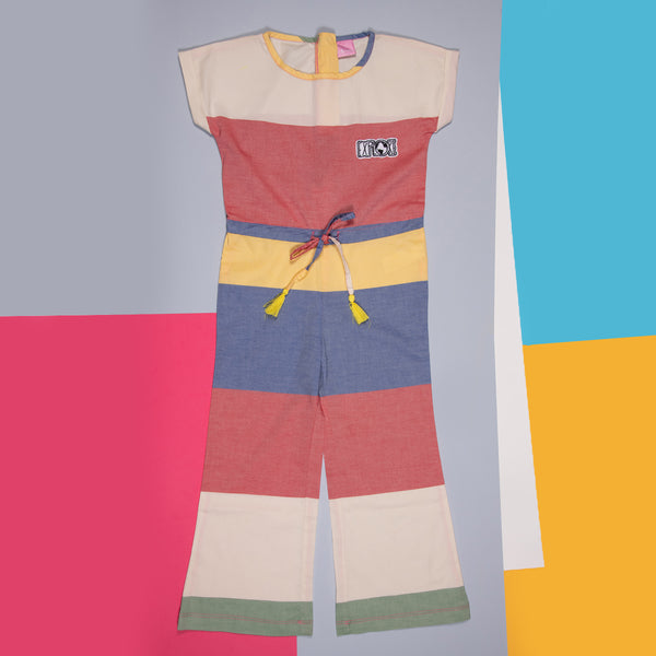 GIRLS MULTI COLOUR STRIPED COTTON REGULAR JUMPSUIT
