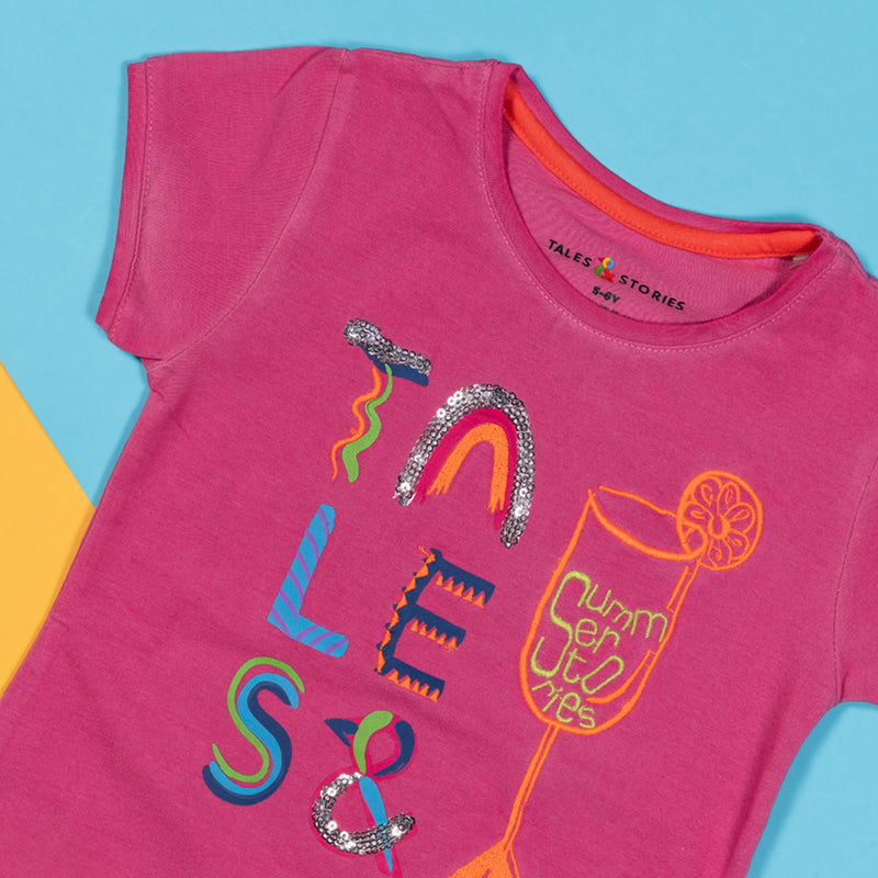 Girls Regular Fit Embroidered Baby Pink T-shirt