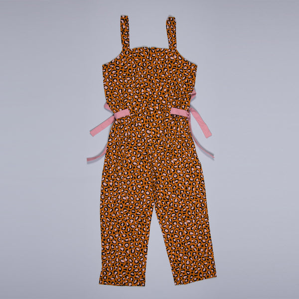 GIRLS YELLOW PRINTED COTTON REGULAR JUMPSUIT