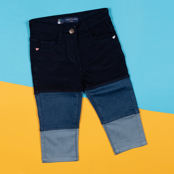 Girls Slim Fit Multi Color Denim Capri