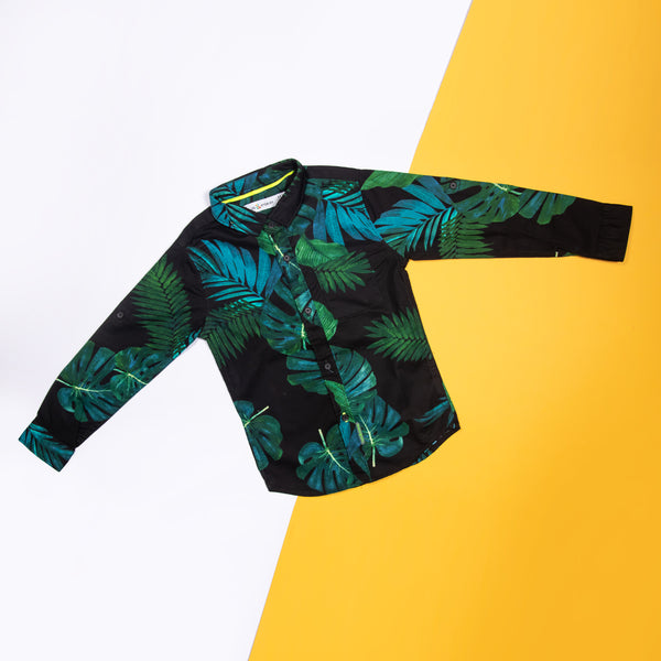 BOYS REGULAR FIT GREEN TROPICAL PRINT SHIRT