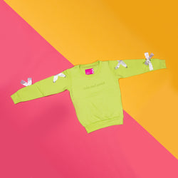 Girls Neon Green Regular Printed Full Sleeve Sweatshirt