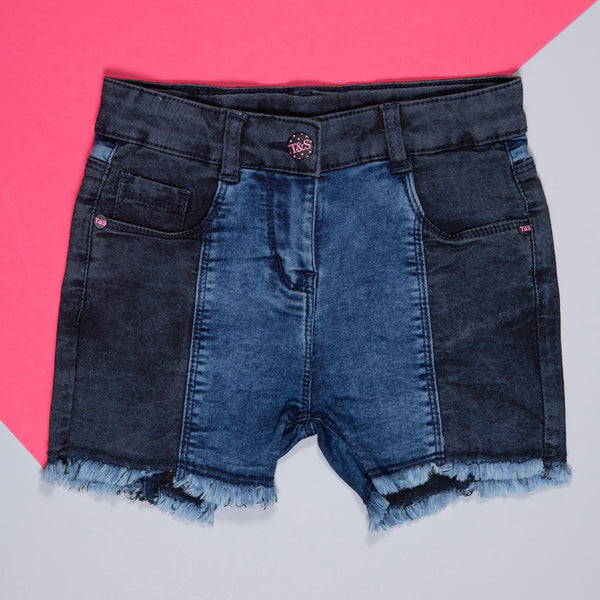 GIRLS DARK BLUE SOFTENER WASHED STRETCHABLE SLIM FIT SHORTS