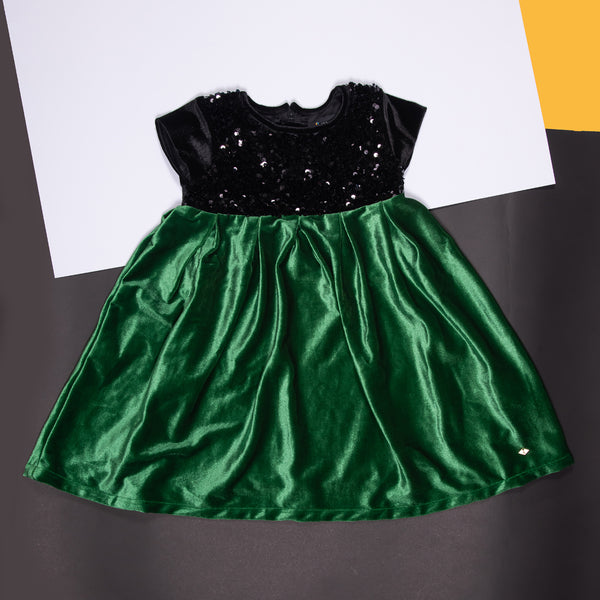 Girls Green Sequins Polyester Regular Dress