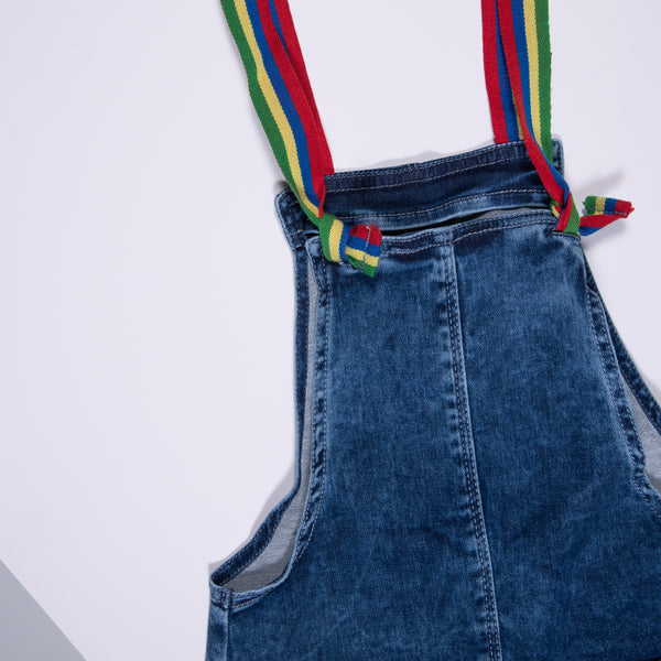 Girls Mid Blue Stretchable Regular Dungaree