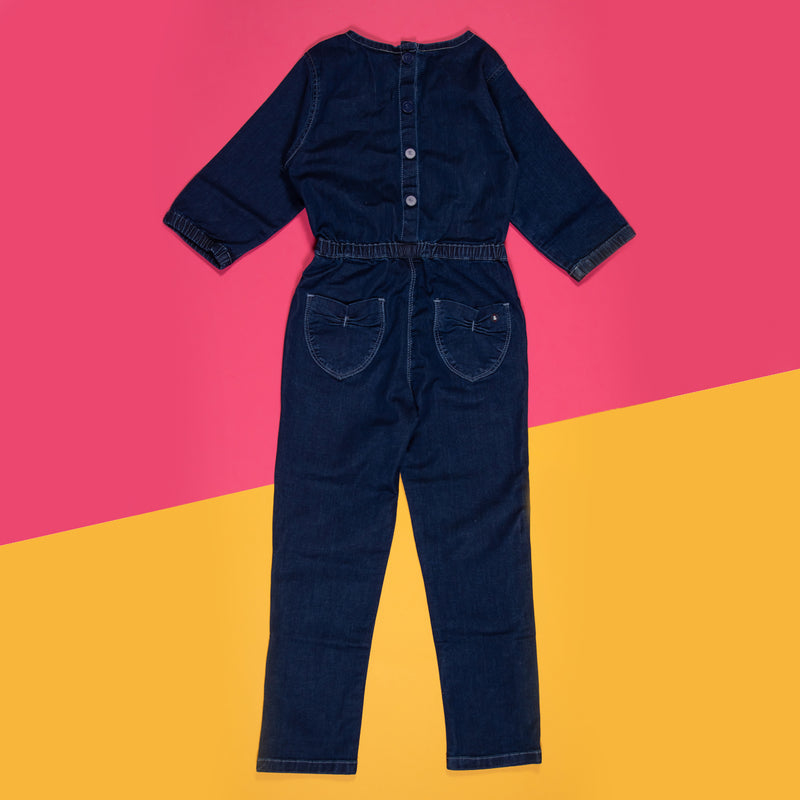 GIRLS DARK BLUE SOFTENER WASHED STRETCHABLE SLIM FIT JUMPSUIT