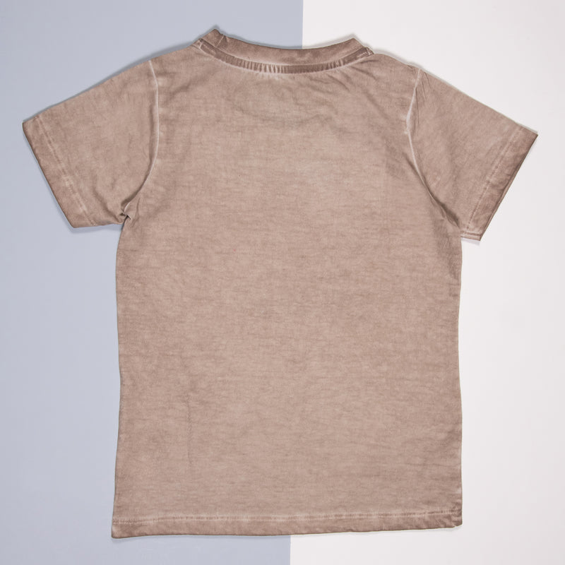 Boys Beige Cotton Regular T-Shirt