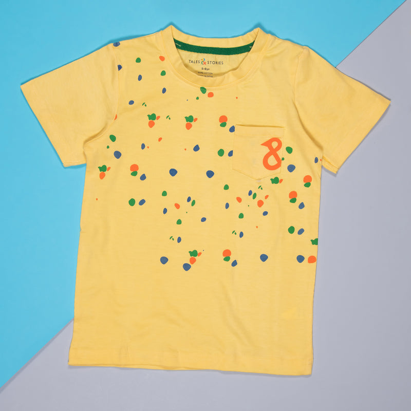 BOYS YELLOW COTTON REGULAR T-SHIRT