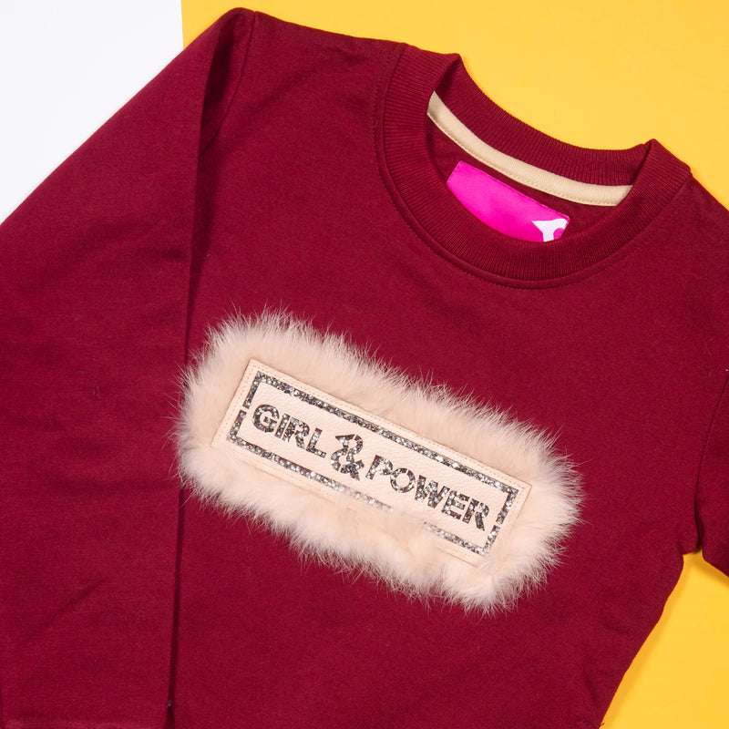 GIRLS MAROON FUR CASUAL SWEATSHIRT