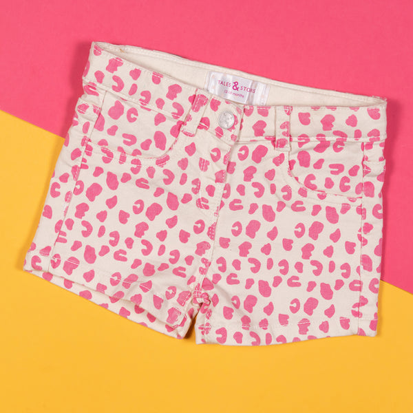 Girls Pink Regular Printed Casual Shorts